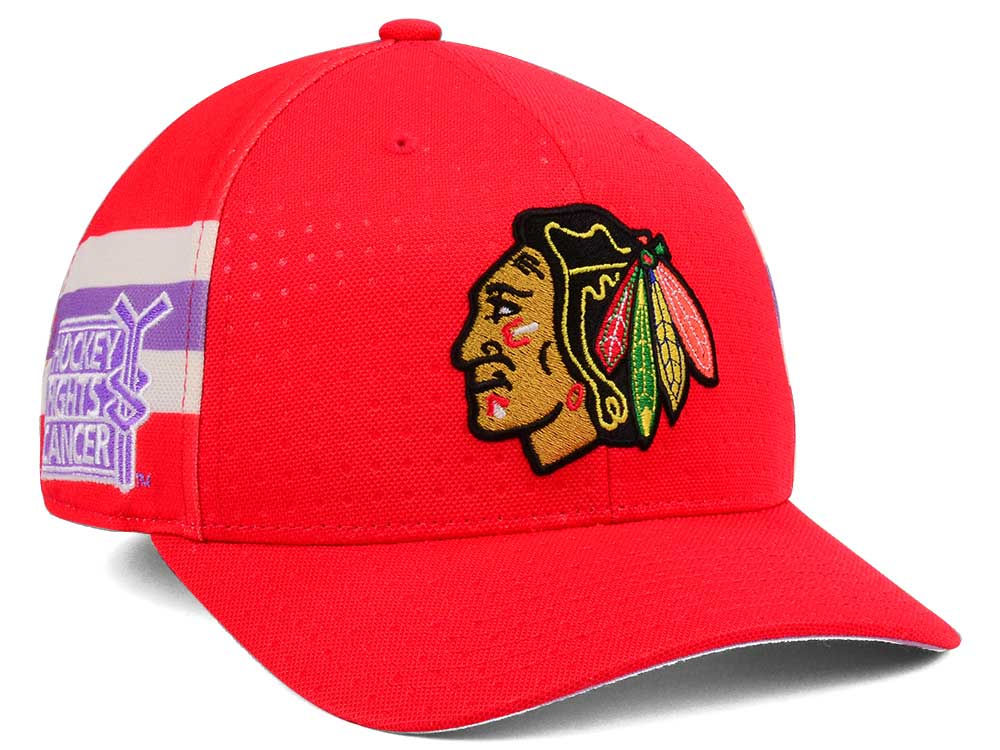 03c3d885d9e Chicago Blackhawks adidas 2017 NHL Hockey Fights Cancer Stretch Cap ...