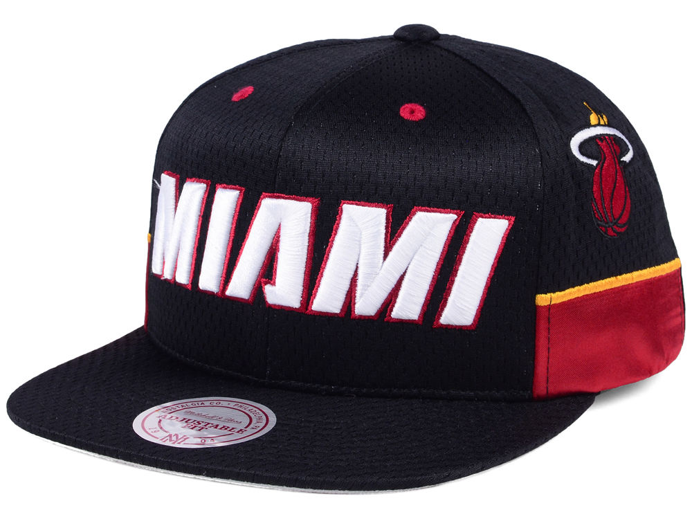Miami Heat Mitchell   Ness NBA Jersey Mesh Hook Snapback Cap  327de6fb8f65