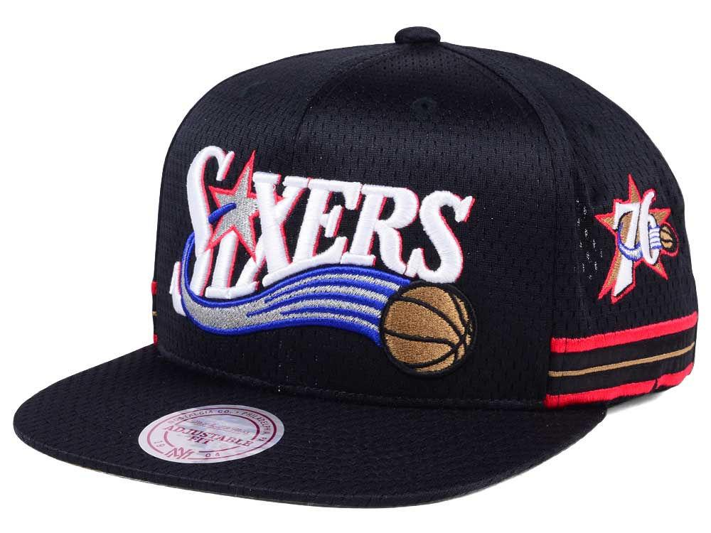 6ca3efb5665 Philadelphia 76ers Mitchell   Ness NBA Jersey Mesh Hook Snapback Cap ...