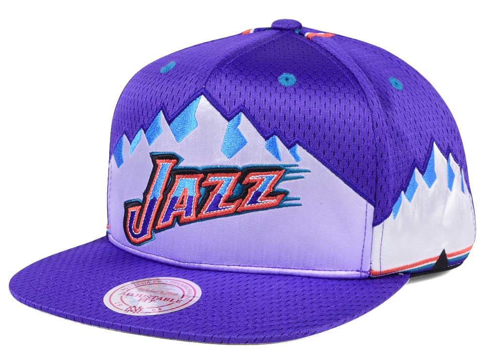 7015f24e71c Utah Jazz Mitchell   Ness NBA Jersey Mesh Hook Snapback Cap