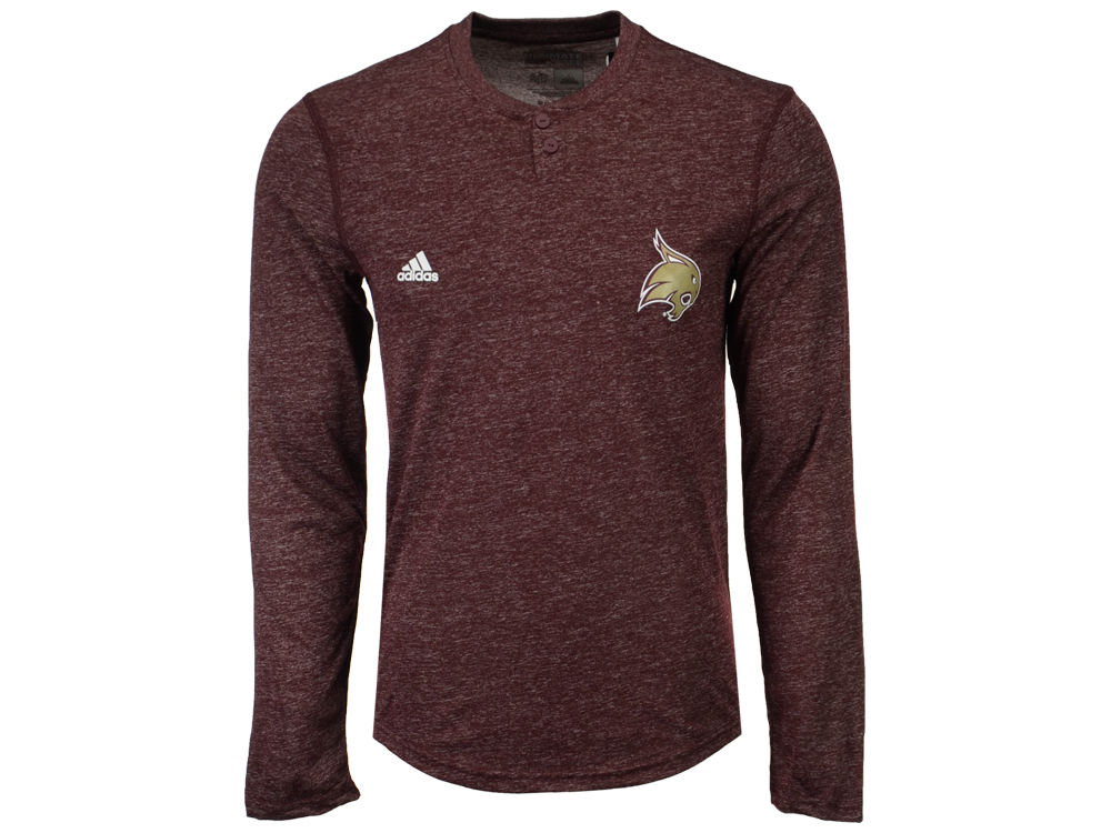 Texas State Bobcats adidas NCAA Men s Henley Long Sleeve T-Shirt ... b29b4c503e82