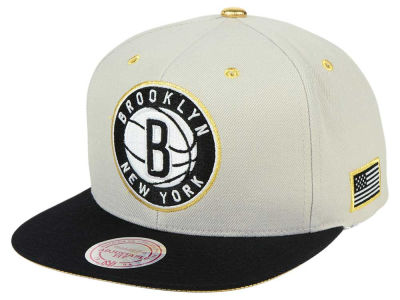Brooklyn Nets Mitchell & Ness NBA Gold Tip Snapback Cap