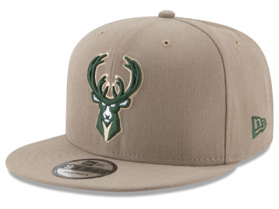 Milwaukee Bucks New Era NBA Tan Top 9FIFTY Snapback Cap