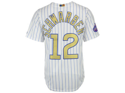Chicago Cubs Kyle Schwarber Majestic MLB World Series Gold Replica CB Jersey