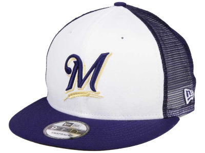 Milwaukee Brewers New Era MLB Old School Mesh 9FIFTY Snapback Cap