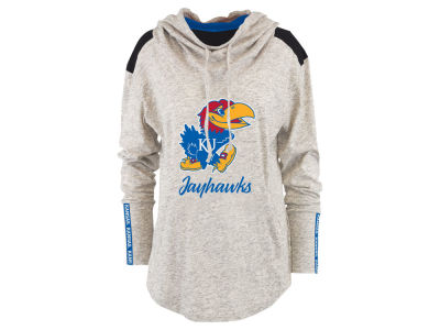 Kansas Jayhawks Pressbox NCAA Women's Gibson Long Sleeve Hooded Sweatshirt