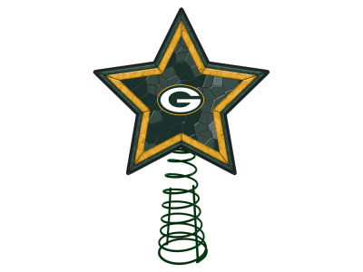 Green Bay Packers Mosaic Art Glass Tree Topper