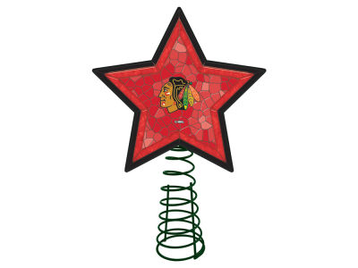 Chicago Blackhawks Mosaic Art Glass Tree Topper