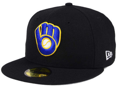 Milwaukee Brewers New Era MLB Black Cooperstown 59FIFTY Cap