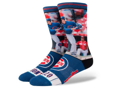 Chicago Cubs Anthony Rizzo Stance MLB Player Crew Socks