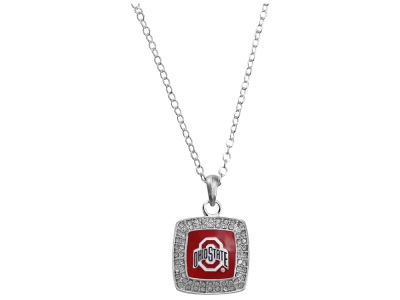 Ohio State Buckeyes Square Crystal Logo Necklace