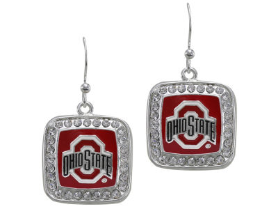Ohio State Buckeyes Square Crystal Logo Earring