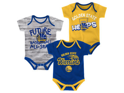 Golden State Warriors Outerstuff NBA Newborn 3 Piece Bodysuit Set