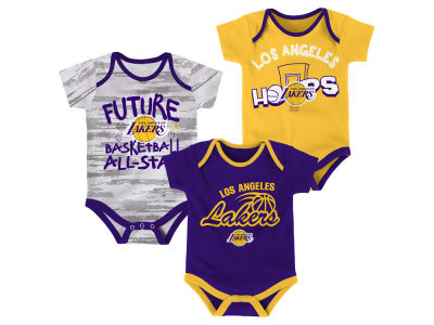 Los Angeles Lakers Outerstuff NBA Newborn 3 Piece Bodysuit Set