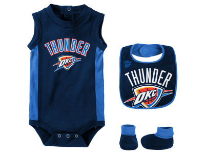 Oklahoma City Thunder Outerstuff NBA Newborn Overtime Creeper Bib & Bootie Set