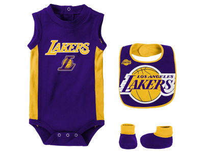Los Angeles Lakers Outerstuff NBA Newborn Overtime Creeper Bib & Bootie Set