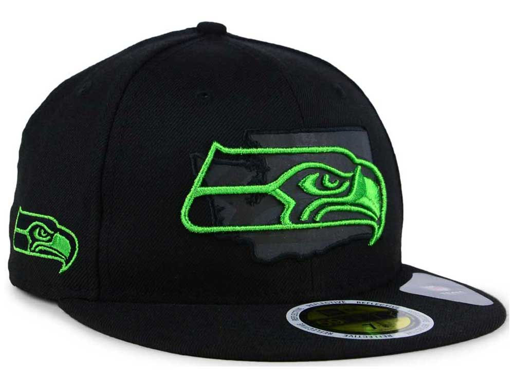 Seattle Seahawks New Era NFL State Flective Metallic 59FIFTY Cap ... 58ab8057ef1c