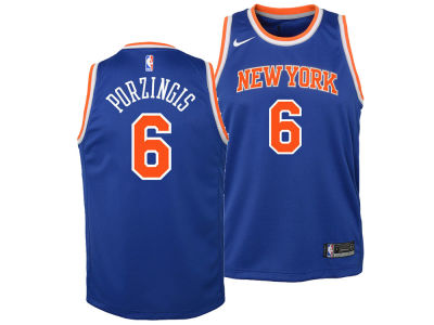 New York Knicks Kristaps Porzingis Nike NBA Youth Icon Swingman Jersey