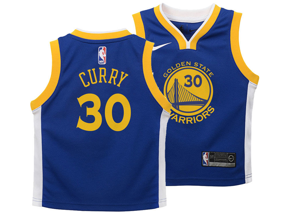 5101ccc61 Golden State Warriors Stephen Curry Nike NBA Kids Icon Replica Jersey