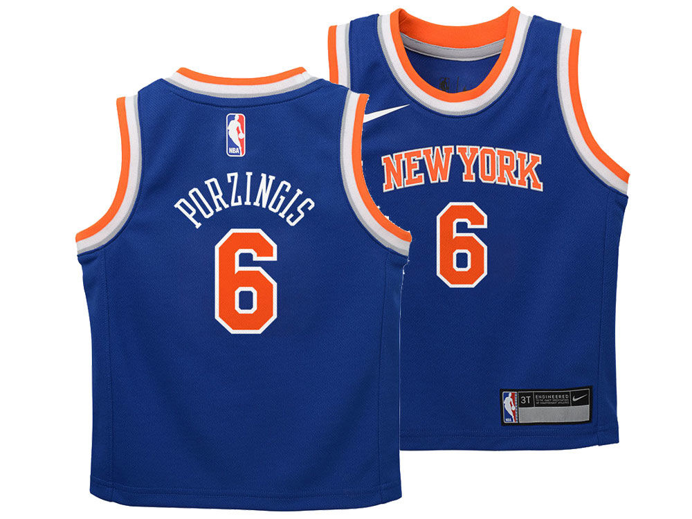 New York Knicks Kristaps Porzingis Nike NBA Toddler Icon Replica Jersey  7636bc054