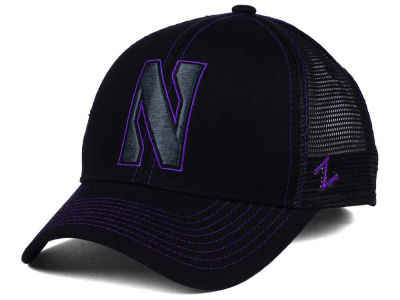 Northwestern Wildcats Zephyr NCAA Staple Trucker Blackout Cap