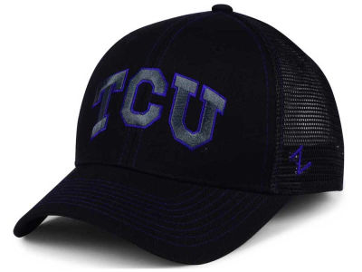 Texas Christian Horned Frogs Zephyr NCAA Staple Trucker Blackout Cap