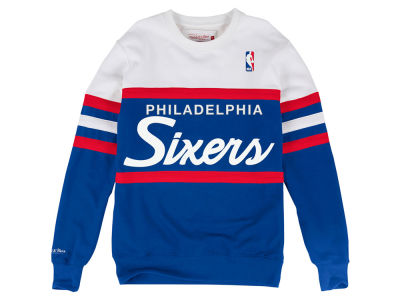 Philadelphia 76ers Mitchell & Ness NBA Men's Head Coach Crew Sweatshirt