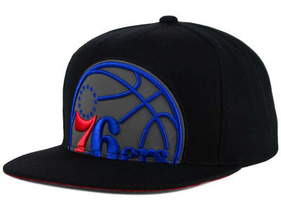 Philadelphia 76ers Mitchell & Ness XL Reflective Cropped Snapback Cap