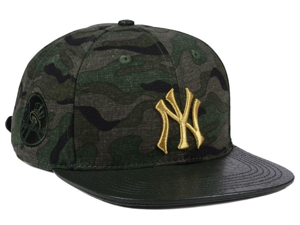 New York Yankees Pro Standard MLB Camo Gold Strapback Cap  a8cbc7bcb6a