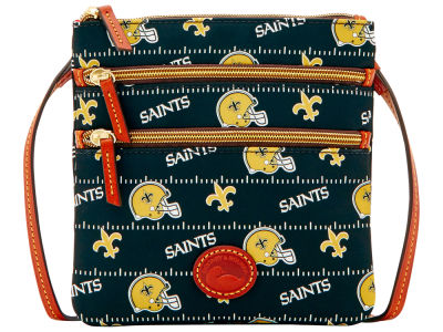 New Orleans Saints Dooney & Bourke Nylon Triple Zip Crossbody