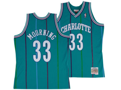 Charlotte Hornets Alonzo Mourning Mitchell & Ness NBA Men's Hardwood Classic Swingman Jersey