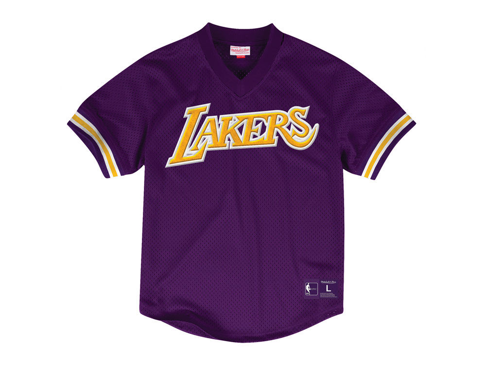 ce8851075 Los Angeles Lakers Mitchell   Ness NBA Men s Wordmark Mesh V-Neck Jersey