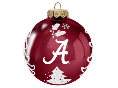 "Alabama Crimson Tide 3"" Glass Christmas Tree Ornament"