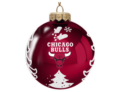 "Chicago Bulls 3"" Glass Christmas Tree Ornament"