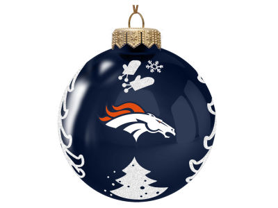 "Denver Broncos 3"" Glass Christmas Tree Ornament"