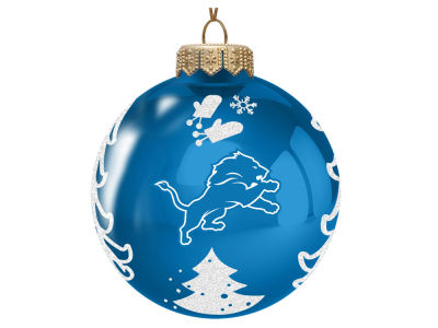"Detroit Lions 3"" Glass Christmas Tree Ornament"