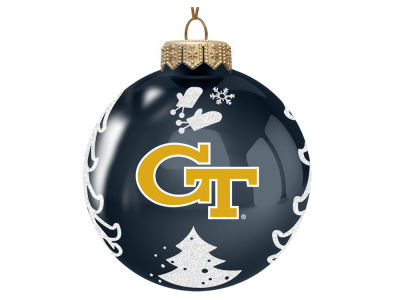 "Georgia-Tech Memory Company 3"" Glass Christmas Tree Ornament"