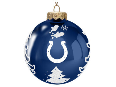 "Indianapolis Colts 3"" Glass Christmas Tree Ornament"