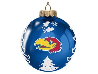 "Kansas Jayhawks Memory Company 3"" Glass Christmas Tree Ornament"