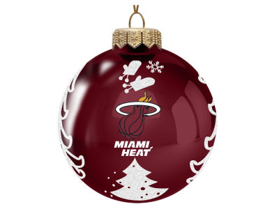 "Miami Heat Memory Company 3"" Glass Christmas Tree Ornament"