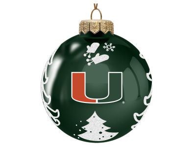 "Miami Hurricanes Memory Company 3"" Glass Christmas Tree Ornament"