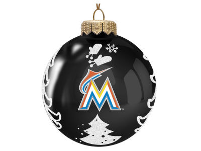 "Miami Marlins Memory Company 3"" Glass Christmas Tree Ornament"