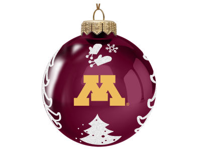 "Minnesota Golden Gophers Memory Company 3"" Glass Christmas Tree Ornament"