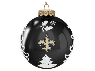 "New Orleans Saints 3"" Glass Christmas Tree Ornament"