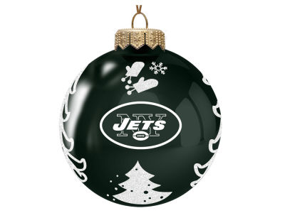 new york jets memory company 3 glass christmas tree ornament