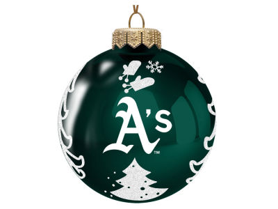 "Oakland Athletics 3"" Glass Christmas Tree Ornament"