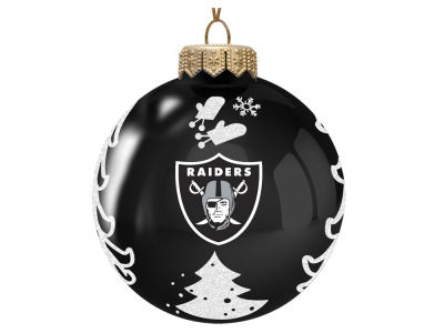 "Oakland Raiders 3"" Glass Christmas Tree Ornament"