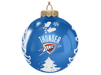 "Oklahoma City Thunder 3"" Glass Christmas Tree Ornament"