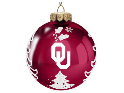 "Oklahoma Sooners Memory Company 3"" Glass Christmas Tree Ornament"