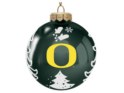 "Oregon Ducks 3"" Glass Christmas Tree Ornament"